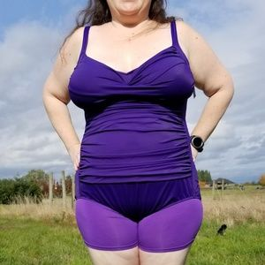 NWT 26W Croft & Barrow purple ruched swimsuit